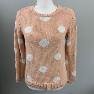 Garnet hill pink and white dot sweater